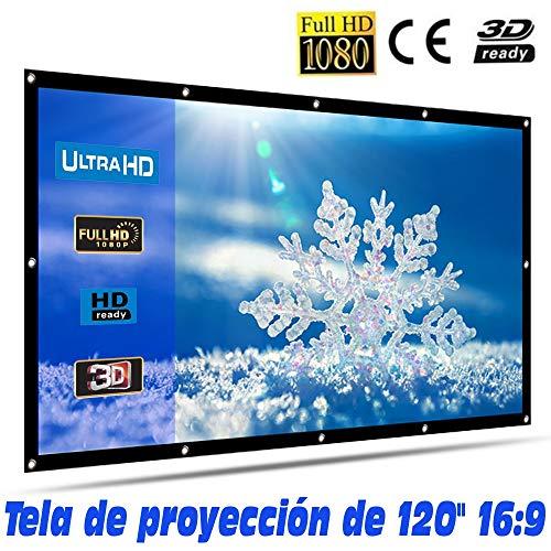 Tela de proyección Lux-Screen Formato 16:9 Superficie de 3 Capas Blanco Mate y Borde perimetal Negro, Pantalla para proyector para Colgar con argolla, garantía de 2 años (120 Pulgadas)