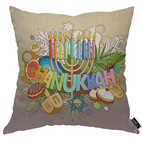 EKOBLA Hanukkah Throw Pillow Cover Hand Lettering Doodles Cakes Candles Doughnut Religious Faith Cozy Square Cushion Case for Men Women Boys Girls Room Home Decor Cotton Linen 18x18 Inch