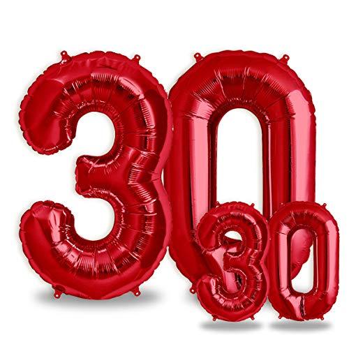 """Folienballon Zahl in Rot 2 Stück – 40"""" + 16""""- Riesenzahl und kleine ballons Folienballons für Luft und Helium als Geburtstag, Hochzeit , Jubiläum oder Abschluss Geschenk , Party Dekoration (Rot[ 30 ])"""