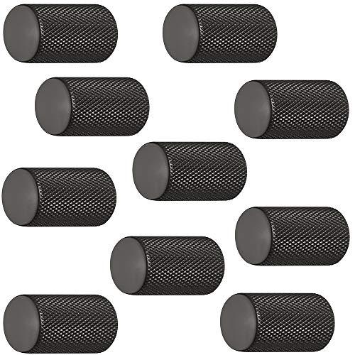 Gedotec Aluminium Möbelknöpfe schwarz Schrank-Knöpfe Vintage für Schublade - H10049 | Möbelgriff schwarz matt | Design-Knopf zylindrisch Ø 17 mm | 10 Stück - Möbel-Knäufe rund mit Möbelschrauben