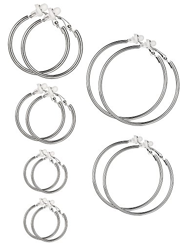 6 Pairs Hoop Earrings Clip On Earrings Non Piercing Earrings Set for Women and Girls, 6 Sizes (Silver)