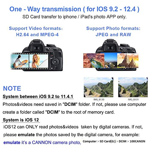 Upgraded SD Card Camera Reader Adapter Trail Game Camera Card Viewer Reader for iPhone 5/5s/6/6s/6 Plus/7/7s/7 Plus/iPad Mini/Air(iOS 11)
