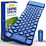 Luxtude Camping Sleeping Pad Mat with Pillow, Lightweight Camping Mat with Built in Bump, 25s Quick Self Inflating Camping Pad for Backpack, Waterproof Sleeping Mat Air Mattress for Camping, Hiking