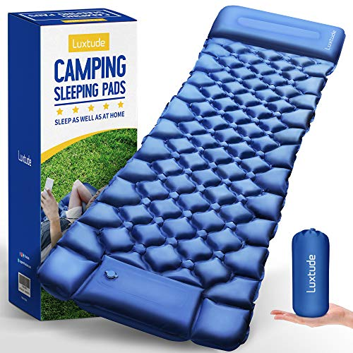 LuxtudeCampingPad,CampingAirMattressWithBuiltinBump,76x27InchesWithPillow,25SecondsEasier&QuickerSelfInflatingSleepingMat,UltralightSleepingPadforCamping,Backpacking,Hiking