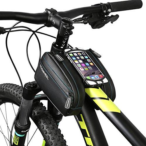DCCN Fahrradrahmentasche, Oberrohrtasche, Fahrradrahmendoppeltasche, mit Haltetasche für iPhone/Android,