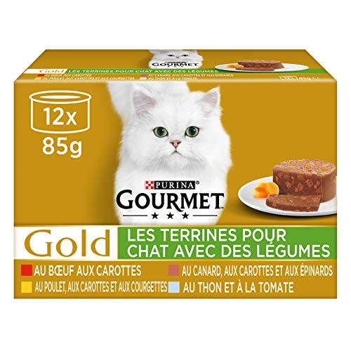 Gourmet Gold -Terrinas para Gato Adulto con Verduras, 12 x 85 g, Paquete de 8