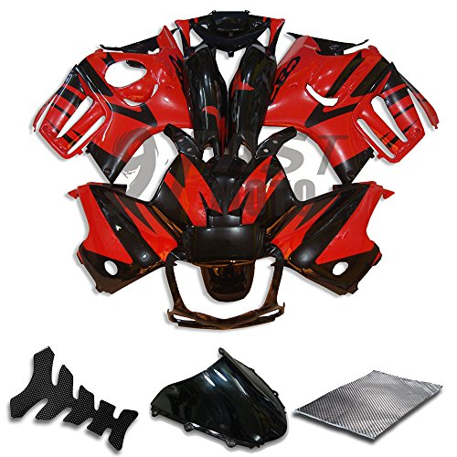 9FastMoto Fairings for honda 1997 1998 CBR600F3 CBR600F 97 98 CBR 600 F3 Motorcycle Fairing Kit ABS Injection Set Sportbike Cowls Panels (Red & Black) H0656