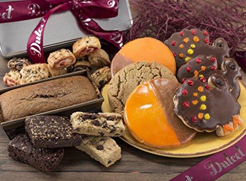 Thanksgiving Gourmet Gift Basket Holiday Cookies, Pumpkin Loaf, Chocolate Fudge Brownies, Turkey Cookies, Best of All Our Assorted Rugelach. Thanksgiving Fall Gift Idea By Dulcet Gift Basket
