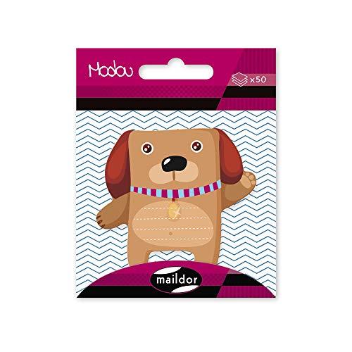 Maildor MI015O Modou selbstklebender Haftnotizblock (1 Beutel mit 50 selbstklebenden Haftnotizen, ideal für Ihre Notizen, Maße Haftnotizen: 5 x 6cm, praktisch und einfach zum Verwenden, Hund) 1 Pack