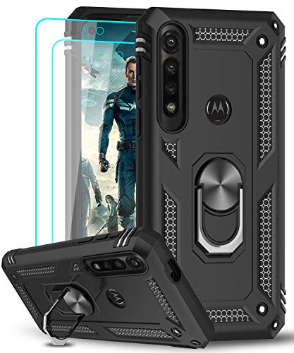Moto G Power Case, Motorola G Power Case with [2Pack] Tempered Glass Screen Protector, LeYi [Military-Grade] Defender Protective Phone Cover with Ring Kickstand for Motorola G Power 2020, Black