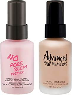 TOUCH IN SOL No Pore Blem Primer 30ml + Advanced Real Moisture Liquid Foundation 30ml (#23 Set)