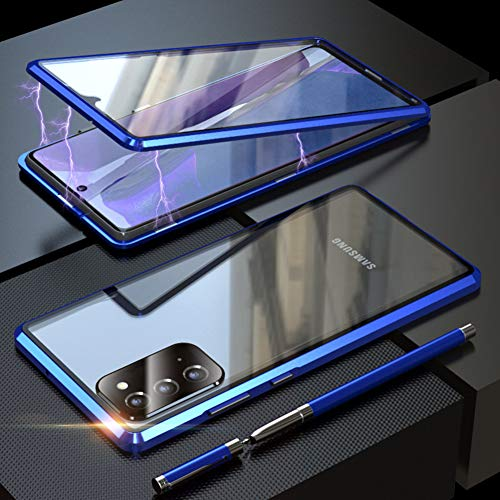 Galaxy Note 20 Ultra Case Clear Double Sided Tempered Glass Full Body Magnetic Metal Bumper Shockproof Phone Cover for Galaxy Note 20 Ultra 6.9 inch (Blue, Galaxy Note 20 Ultra 6.9')