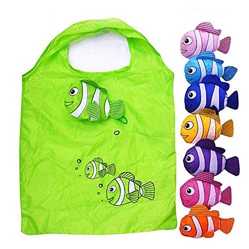 Einkaufstasche, faltbar, bunt, wiederverwendbar, umweltfreundlich, mit Griff, 2 Stück, zufällige Farbe