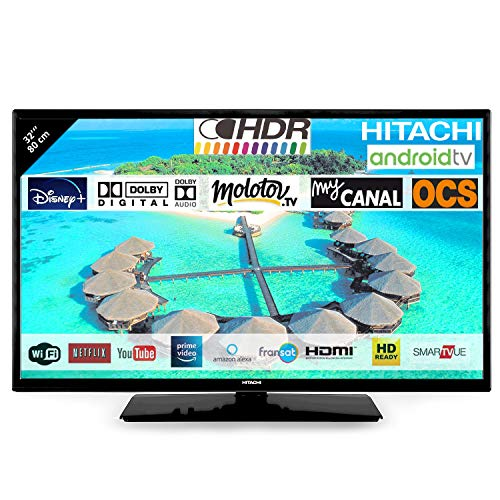 Hitachi 32FK5HAE2252 Téléviseur LED 32' 80,01cm HD avec Alexa Android Smart TV: Netflix, Youtube, Prime/WiFi / 3 HDMI / 2 USB