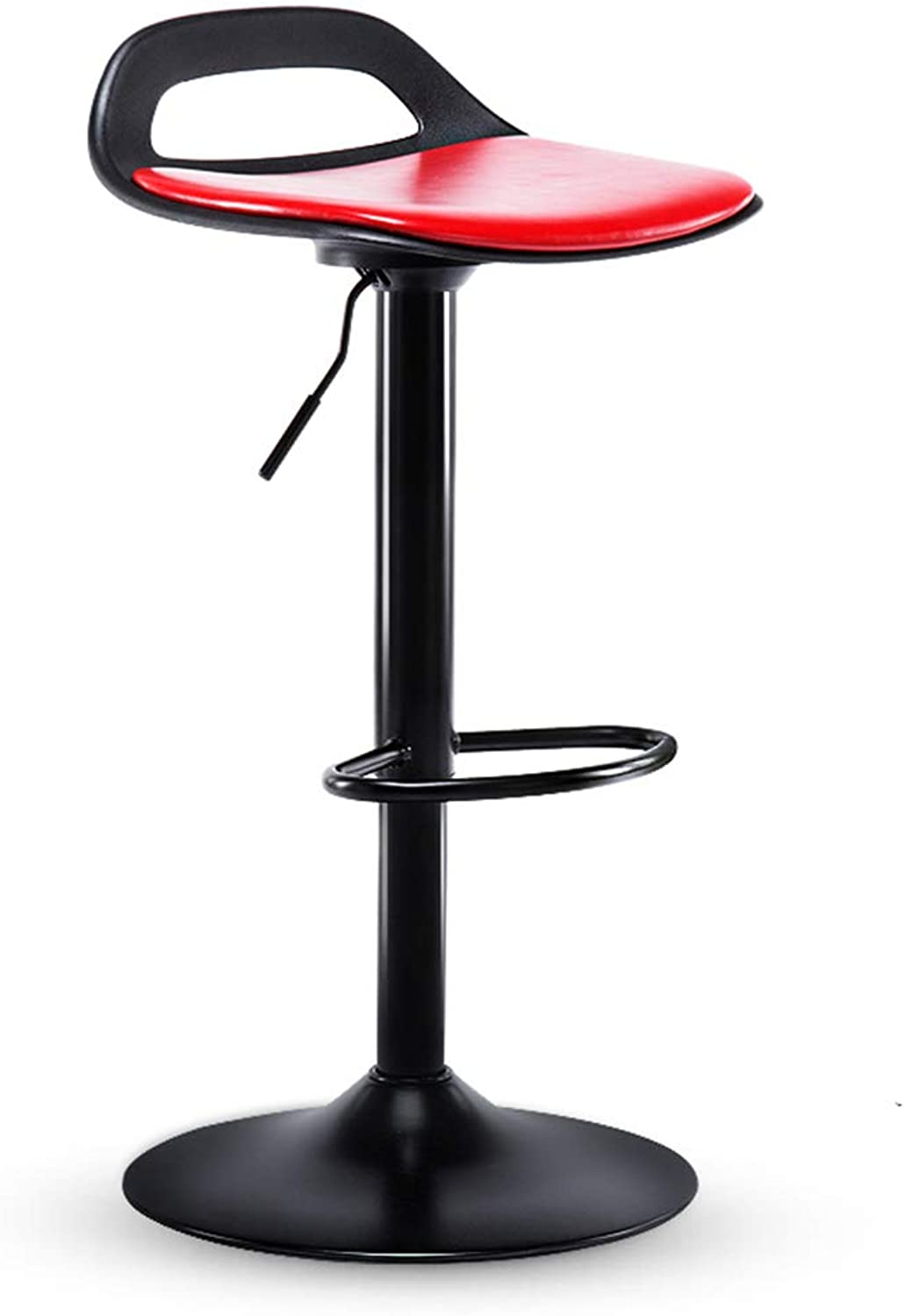 A-Fort European Fashion High Stool Bar Stool Adjustable Height Fashion Leather Bar Stool with Backrest Back redating Chair Leisure Seat (color   Black 2)