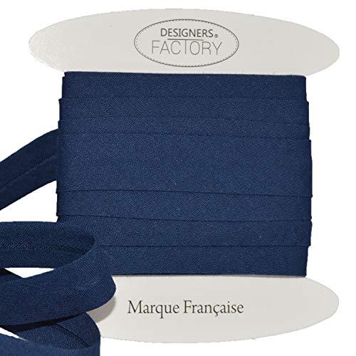 designers-factory Schrägband aus Baumwolle, einfarbig, schöne Qualität größere – Schrägband aus Baumwolle (Um 5 Meter, Navyblau)