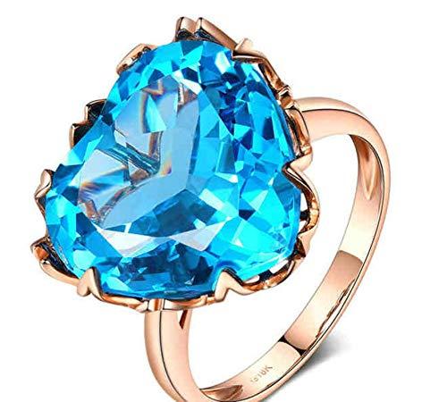 Clavie Promise Ring for Girlfriend 14ct Topaz Heart 750 Rose Gold Size I 1/2