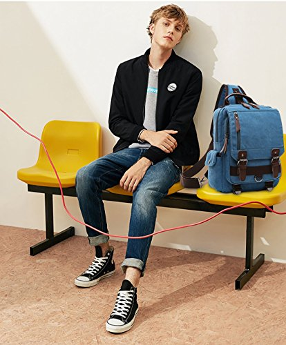 51JbLIivsfL - FANDARE New Hombres Sling Bag Business Commuter Estudiante Gym Outdoor Viaje Bolso de Hombro Transpirable Lienzo Azul A
