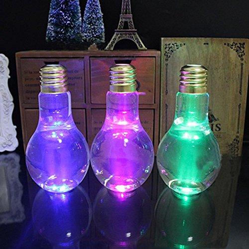 JUZIPI 400ml Lámpara con Bombilla para Botella De Agua, Plástico Transparente con Forma De Bombilla, Botellas De Jugo para Bebidas, Regalos para Fiestas (Pajita No Incluida)