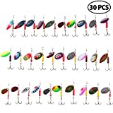 LotFancy Fishing Lures, 30 PCS Spinner Baits for Bass Perch Pike Walleye Trout Salmon, Assorted Hard Metal Spinner Lures Kit, Fit Saltwater and Freshwater