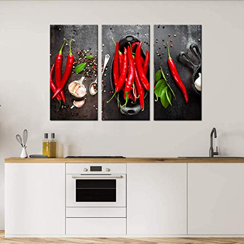 3 Panel Kitchen Art Wall Decor Fresh Red Chili Pepper Pictures Canvas Print Food Wall Art Painting for Kitchen Walls