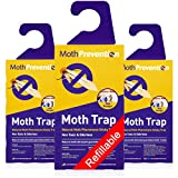 MothPrevention Powerful Moth Traps for Clothes Closets Moths | Refillable Clothes Moth Trap | 3-Pack | Odor-Free & Natural Closet Clothing Moth Traps | Moth Pheromone Traps for House