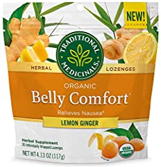 Helps relieve nausea and occasional indigestion Non-GMO Verified. Certified Organic. Kosher Taste: Sun-kissed lemons balanced with ginger spice Contains 30 Individually Wrapped Lozenges