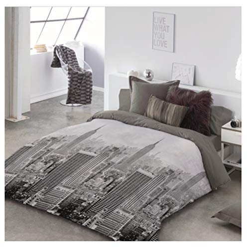 COTTON ARTean Funda Nordica City Life II Reversible Cama de 90 (155 Ancho X 260 cm Largo)