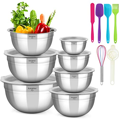 Mixing Bowls Set with Airtight Lids, Kaqinu Stainless Steel Metal Nesting Mixing Bowls Set (13 pcs)for Space Saving Storage, Easy Grip & Stability Design Versatile for Cooking, Baking, Prepping