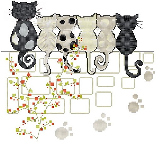espera gatos Kit para punto de Cruz, 14 ct 139 * 127stitch, 35.2 cm * 33 cm de tamaño Kits de punto cruz