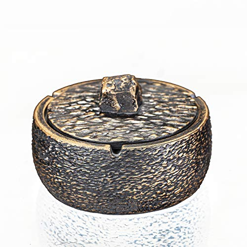 Concrete Ashtray with Lid Imitate Nature Cement Cigarette Ash Tray for Indoor Outdoor Use for Patio Office Home Decoration (Antiqued Stone)