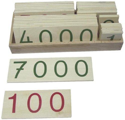 Montessori Zahlenkarten 1-9000 im Kasten, groß Mathematisches Material