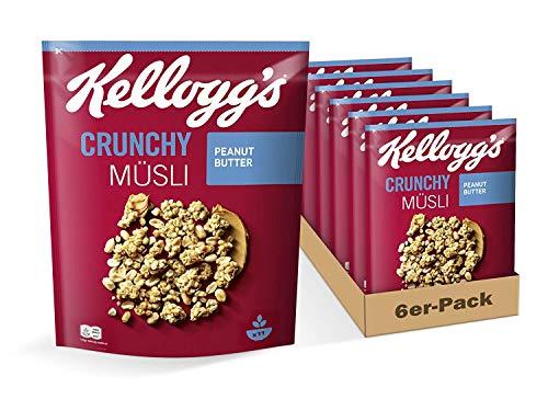 Kellogg's Crunchy Müsli Peanut Butter | Knuspermüsli mit Erdnussbutter-Geschmack | 6er Vorratspack | 6 x 400g, 6 stück