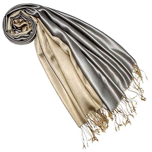 Lorenzo Cana Luxus Pashmina Damenschal Wendeschal 70% Seide 30% Viskose Schaltuch 70 cm x 190 cm zweifarbig Schal Stola Umschlagtuch wendbar Double Face 7842277