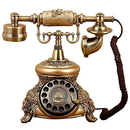 DFBGL Teléfono Vintage/teléfono Retro con Cuerpo de Madera y Metal, dial Giratorio Funcional y teléfono Fijo clásico con Acabado de Metal Bronce, botón inalámbrico