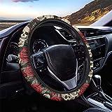 Jeiento Skull Rose Print Women Steering Wheel Cover, 14-15 inch...