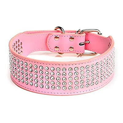 "Beirui Rhinestones Dog Collars - 5 Rows Full Sparkly Crystal Diamonds Studded PU Leather - 2 Inch Wide -Beautiful Bling Pet Appearance for Medium & Large Dogs,17-20"" Pink"