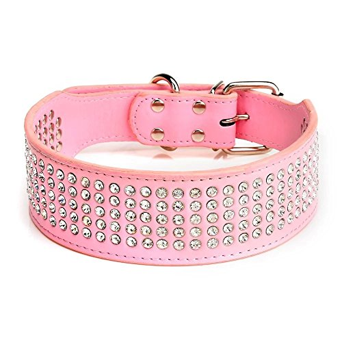 Beirui Rhinestones Dog Collars - 5 Rows Full Sparkly Crystal Diamonds Studded PU Leather - 2 Inch Wide -Beautiful Bling Pet Appearance for Medium & Large Dogs,17-20' Pink