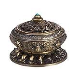 Qchomee - Quemador de incienso con tapa de porcelana, para incienso, madera de...