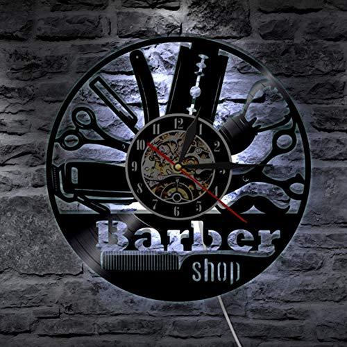 Barber Shop vinyle record horloge murale avec lampe de lumière LED coiffeurs stylistes BlackLight horloge couleur changeant contrôleur à distance,Black,12