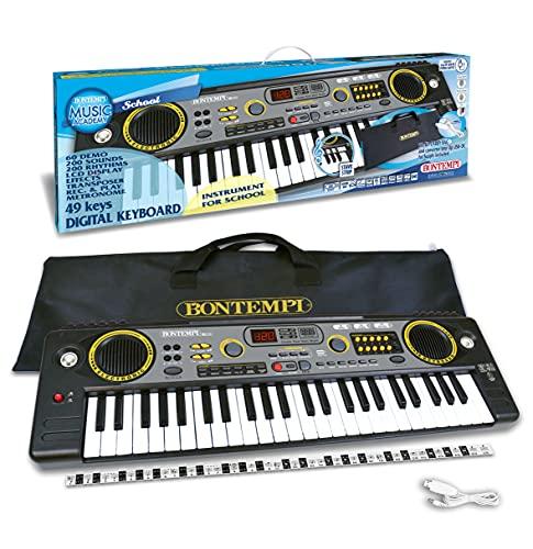 Bontempi Tastiera Digitale 15 4920 con 49 Tasti, Nero