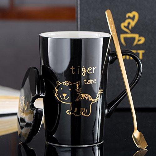 Coffcup Kreative Chinese Zodiac Keramik Tasse Trinkbecher mit Löffel Cartoon Paar Paar Kaffeetasse Geschenk Box Set, zähmen Tiger (schwarz)