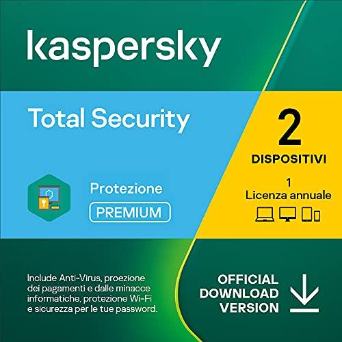 Kaspersky Total Security 2021 | 2 Dispositivi | 1 Anno | PC   Mac   Android | Codice d attivazione via email