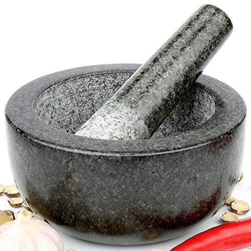 H&S Pestle and Mortar Set Premium Solid Granite Stone Large Black - 16cm(6.3') Diameter