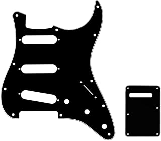 Musiclily SSS 11 Holes Strat Electric Guitar Pickguard and BackPlate Set for Fender USA/Mexican Made Standard Stratocaster Modern Style Guitar Parts,3Ply Black