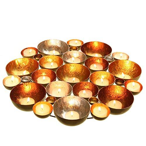 Kerzenschale - Teelichtschale - Wandobjekt 20/30/40 cm Teelichthalter - Teelichtschale - Kerzenhalter Farbe gold-silber-kupfer, Größe ca. 30 cm