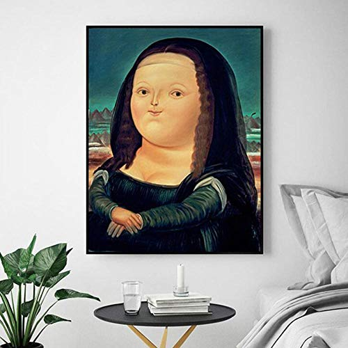 Cute Fat Mona Lisa Painting Cartoon Funny Mona Lisa Poster Print Guest Decorative Painting 60X80cm (Frameless)