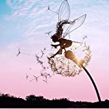 Miniatur-Skulpturen für Feengarten, Elfe Metall Rost Gartendeko, Mythische Feengarten, Fairy, Feen, Elfen und Pusteblume groß Gartenstecker Rostoptik, Figur Rost Deko für Garten (C)