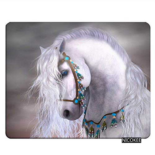Nicokee Horse Gaming Mousepad Art White Horse Animal Cute Mouse Pad Mouse Mat for Computer Desk Laptop Office 9.5 X 7.9 Inch Non-Slip Rubber