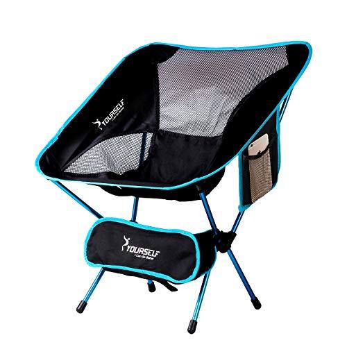 Syourself Silla de camping plegable portátil,ligera,compacta,cómoda,transpirable,para playa,para senderismo, picnic, actividades al aire libre y deportes con bolsa de transporte, aguamarina,bleu eau